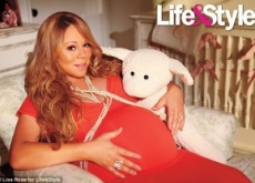 Mariah Carey Reveals Green, Pink & Cream Babies' Nursery with Orangey-Pink Clouds & Gold Stars on Ceiling Based on Her Songs