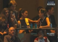 Eva Longoria Gay Petting Jessica Alba at DNC – Video