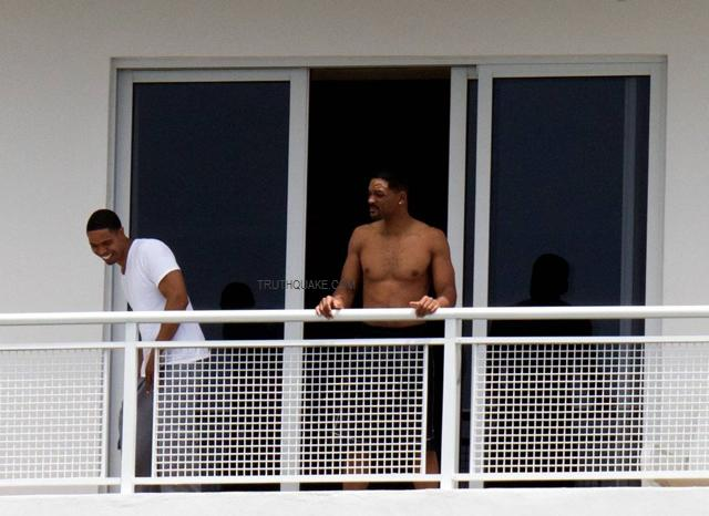 Will Smith Shirtless with Trey Songz in Miami Hotel