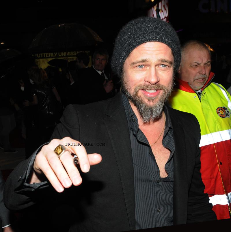 Brad Pitt Wearing Freemason Ring to Movie Premiere