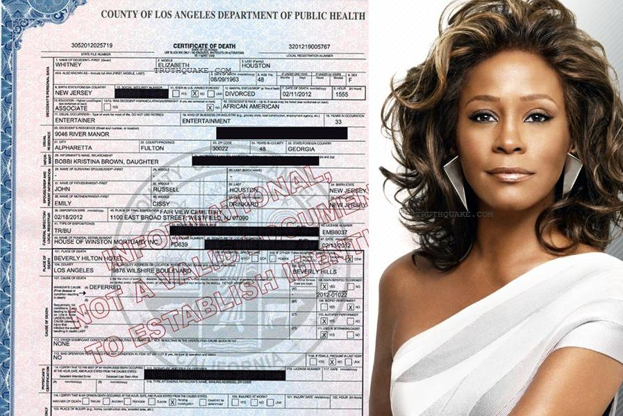 Whitney Houston's Death Certificate Lists Cause of Death as 'Deferred