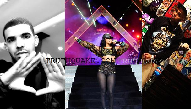 Drake Making Alleged Eye of Horus Illuminati Sign; Rihanna at Wireless ...
