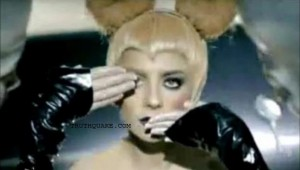 Lady Gaga Making Alleged Representation of Illuminati Eye of Horus & Silence Gesture with Mickey Mouse Ears Indicating Possible MKUltra Mind Control Programming